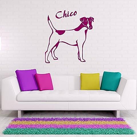 Adesivo da parete–Fox Terrier con richiesta nome da parete Tattoo adesivo da parete cane animale mondo animale adesivo, Plastica, argento, ca. 120 x 130 cm