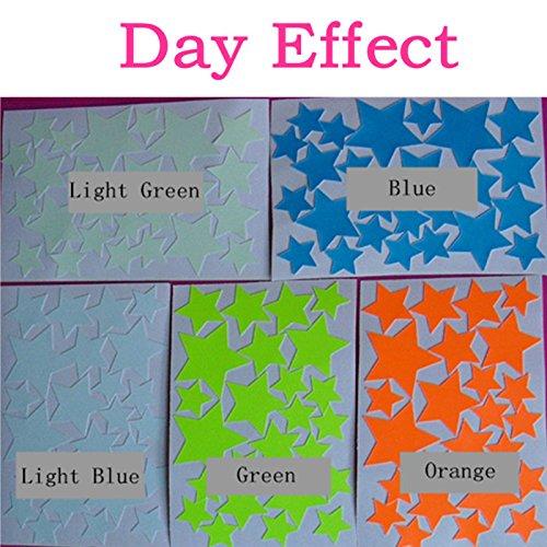 Bluelover 25Pcs Resplandor Fluorescente Estrellas Pegatina Brillante S M L Colores Estrellas Pared Calcomanías Home Pared Decoración De La Pared-Luz Azul M