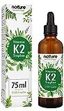 Vitamin K2 Tropfen 200µg 75ml - 2500 Tropfen K2 MK-7-99,97% Höchster All-Trans Gehalt - Premium Gnosis VitaMK7 hoch Bioverfügbar natürlich fermentiert - Laborgeprüft hergestellt in Deutschland