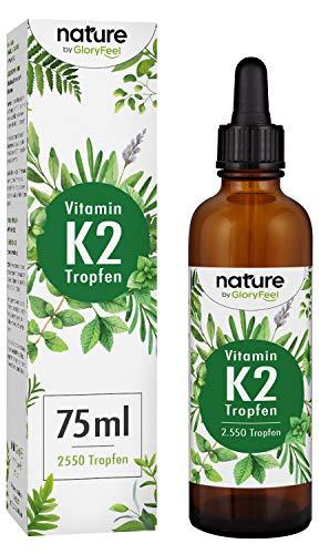 Vitamin K2 Tropfen 200µg 75ml - 2500 Tropfen K2 MK-7-99,97{4f482c1c6288ce14c9f3996f659f07a99b41593f30112d09d0b40936f56c1f12} Höchster All-Trans Gehalt - Premium Gnosis VitaMK7 hoch Bioverfügbar natürlich fermentiert - Laborgeprüft hergestellt in Deutschland