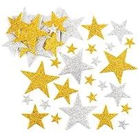 Baker Ross Pegatinas de Estrellas con Purpurina en Color Dorado y Plateado, Decoraciones y Manualidades Infantiles (Pack de 150).