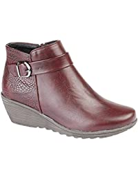 020b87b5fa2 Cipriata Womens Ladies Rosa Reptile Print Inside Zip Wedge Ankle Boots