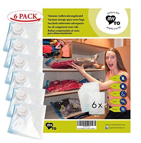 6 Stück Robuste Vakuum Kleider-Beutel 60x80 cm | My Vacuum-Bag to Store | Kompressionsbeutel Wiederverwendbar aus Extra Dickem Nylon | schützt die Kleidung, Bettdecken vor Feuchtigkeit, Motten, Staub (Bettdecke Bett In Einem Beutel)