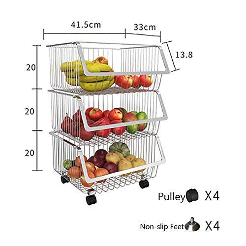 DGSD Frucht-Gemüse-Storage Rack Küchenwagen Mit Rädern Zweckwagen-Gestell Für Gemüse,Obst,Küche,Mehrschicht-Nahrungsmittelkorb Organizer,Weiß Edelstahl,3layers