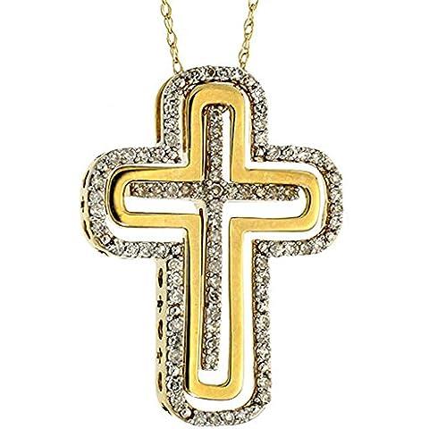 Revoni-Catenina in oro 9 kt, 17 in. in. & 1 (25 mm), due tonalità, con croce pendente e diamanti 0,33 carati, taglio a brillante