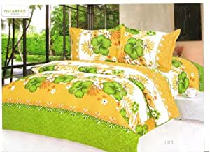 Sai Arpan Attractive Double Bed Sheet With Pillow Covers - Green