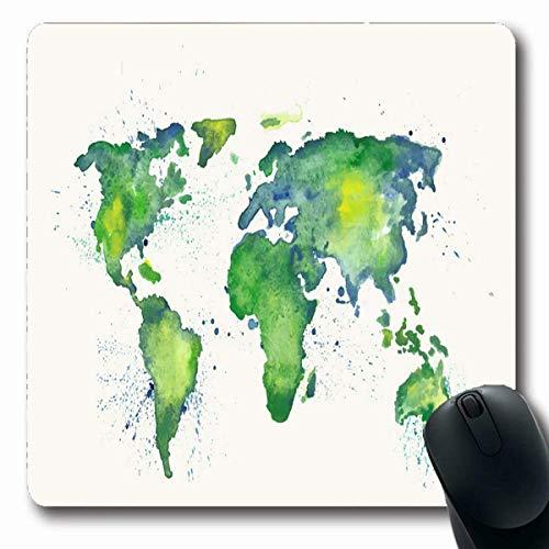 Luancrop Mousepads Farbe Grün Aquarell Weltkarte Spritzer Ost Spritzer Wasser Globus Farbe Erde Planet Design rutschfeste Gaming Mouse Pad Gummi Längliche Matte -