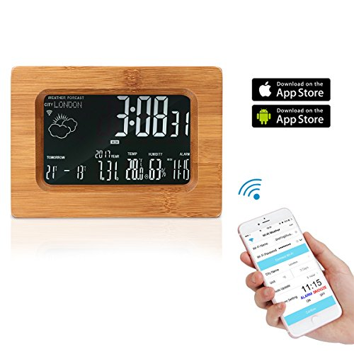 Wi-Fi-Uhr, Wooden Wireless Digital Wecker mit LCD-Bildschirm Wetterstation Tischuhr mit Temperatur / Luftfeuchtigkeit / Prognose Display (Element Lcd)