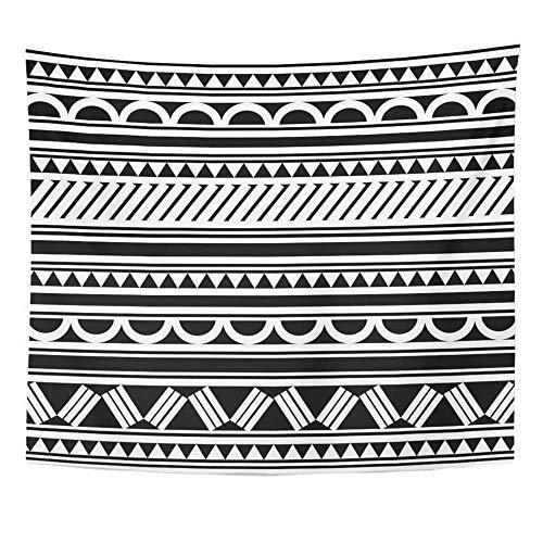 Soefipok Tapisserie Polyester Stoff Drucken Home Decor Tribal Maori polynesischen Stil Tattoo Armband Aboriginal Arm schwarz Brust Curl Wandbehang Tapisserie für Wohnzimmer Schlafzimmer Schlafsaal