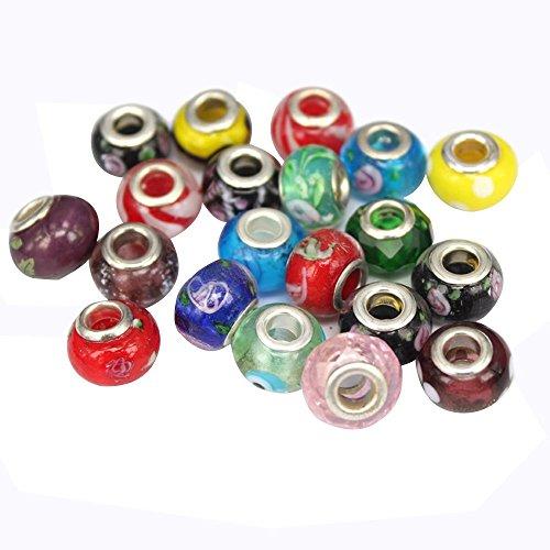 Contever® 100 pcs Mix European Perlen Beads Charm Ideal fuer die Herstellung Armbaender/Halskette