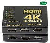 Switch HDMI 4K intelligente interruttore, HDMI 5in 1out HDMI splitter HDMI a porte con telecomando a infrarossi senza fili, alta velocità HDMI convertitore, supporta Full 3D 4K x 2K per HDTV/DVD/STB/PC/Projecto