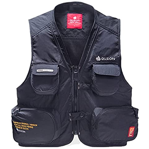 Quick dry multi pockets mesh inner fly fishing hunting photography vest red and black