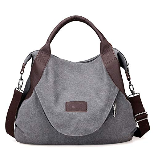 nhandtasche Large Tote Pocket Damenhandtasche Canvas Crossbody-Schultertasche, Grau, 50 X 43 X 13 cm ()