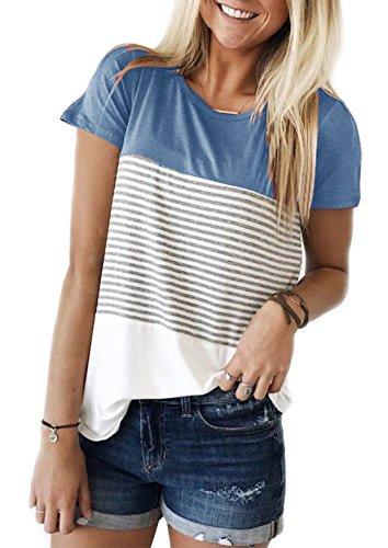 Ehpow Damen Sommer T-Shirt Casual Streifen Patchwork Kurzarm Oberteil Tops Bluse Shirt (Medium, Blau)