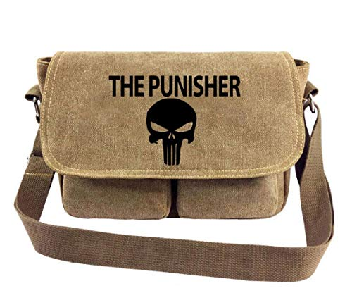 Messenger Bag Punisher Mens Frau Canvas Messenger Anime Student Umhängetasche, A