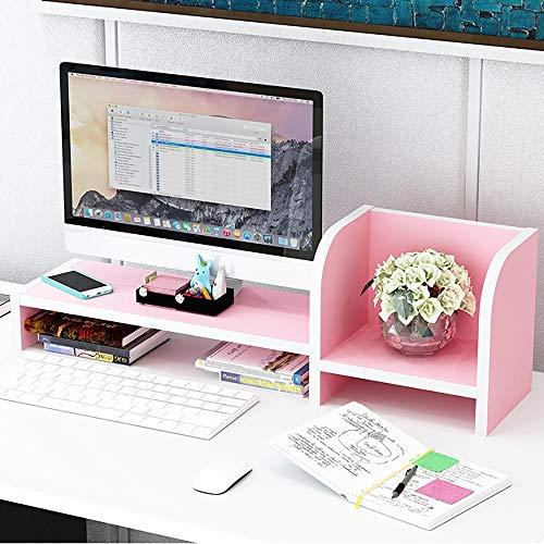 Desktop-Computer Monitorständer Riser Creative Office Storage Organizer Tastatur/Drucker/Schreibwaren/Bücher (Color : Pink, Size : Single Layer) -