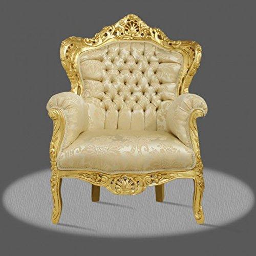LouisXV Barock Sessel Armlehner Vintage Antik Stil rot Rokoko Blatt gold Bezug beige antik Stil...