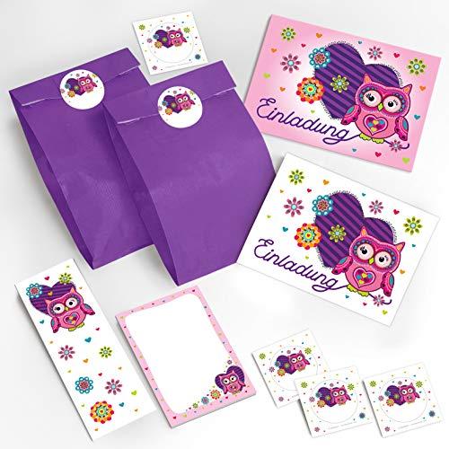 8 Einladungskarten Geburtstag Kinder Eule Herz für Mädchen Einladungen Kindergeburtstag Geburtstagseinladungen Set Partyset Kartenset Party incl. 8 Umschläge, 8 Tüten / lila, 8 Aufkleber, 8 Lesezeichen, 8 Mini-Notizblöcke