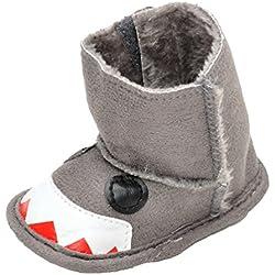 CHENGYANG Bambini Neonati Stivali Caldo Antiscivolo Scarpine Invernali Prewalkers Scarponi Neve (Scuro Grigio#25, 12cm)