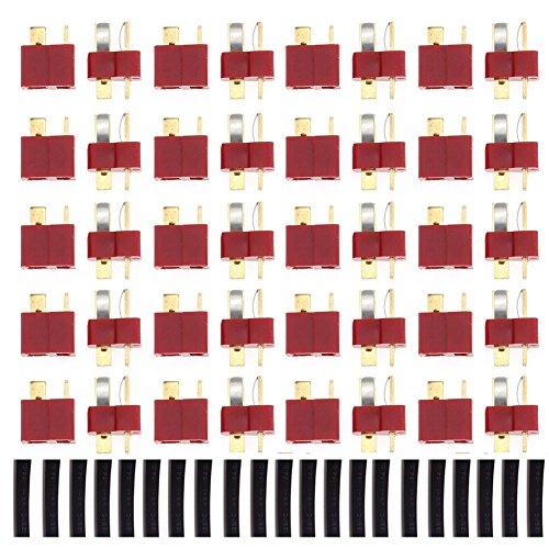 YCNK 20 accoppiamenti T connettori a spina Deans Stile maschio e femmina connettori per batteria di RC Lipo ESC Motor maschio e femmina + 20pcs Shrink Set di tubi