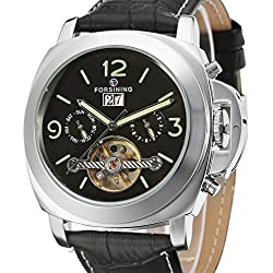 Forsining Men's Fantastic Automatic Calendar Day Leather Strap Wrist Watch FSG005M3S2