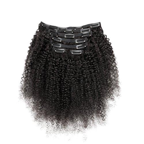 viviabella 100 Cheveux Humains Double trame d'épaisseur/Noir naturel Extensions cheveux bouclés à clip Noir de jais 70 g-160g 30,5 cm -28 \\