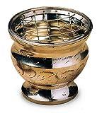 Räucherschale Räuchergefäß mit Netz Ø 7,5 cm x 7 cm aus Messing, Netzgefäß Messingschale für Räucherkohle Räucherkegel, Dhoopgefäß mit Netzeinsatz