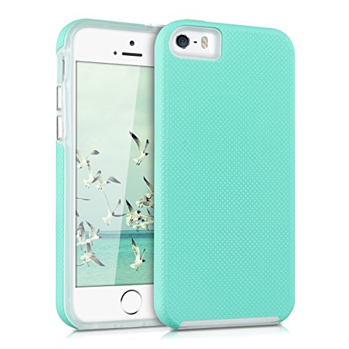 Kalibri cover per apple iphone se / 5 / 5s - custodia protettiva ibrida dual case in silicone tpu - cover ibrida superficie in rilievo menta