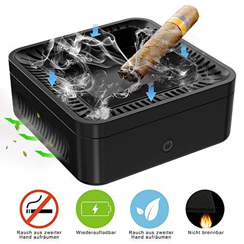 Elektrisch Aschenbecher,Luftreiniger,Deodorant für Zigaretten,mit 99.97% HEPA Filter,2 Windgeschwindigkeiten und wiederaufladbar,Schreibtisch vor Rauchasche schützen,Halten Büro und Zuhause rauchfrei
