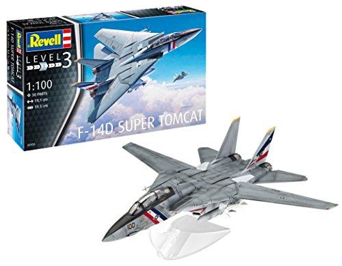 Revell 03950 Spielzeug Modellbausatz, Flugzeug 1:100 - F-14D Super Tomcat, Level 3, Orginalgetreue Nachbildung mit Vielen Details