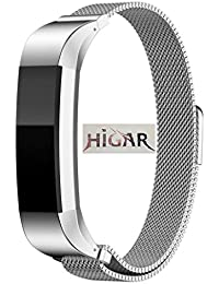 HIGAR Milanese Magnetic Loop Watch Band Replacement Strap Bracelet for Fitbit Alta - Silver