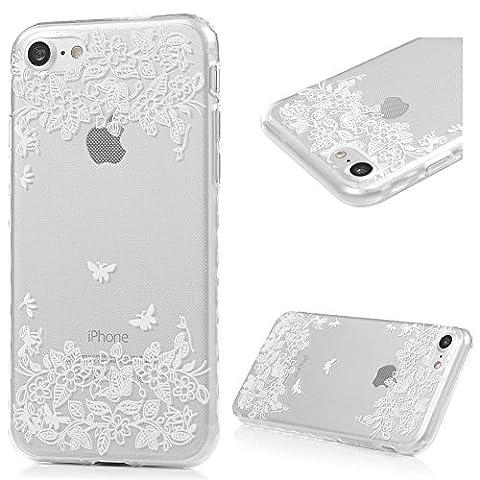 iPhone 7 Hülle Kasos iPhone 7 TPU Silikon Case Schutzhülle Ultra Dünn Painted Transparent Handy Cover Wellenförmige Border Handytasche mit Weiße Schmetterlinge Blumen Design