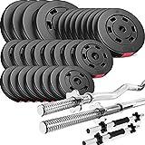 Trex Hantelset Lang-, Curl- und Kurzhantelstange mit Gewichten 50kg bis 160kg zur Wahl (110kg)