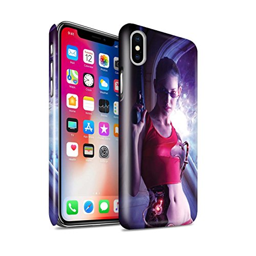 Offiziell Elena Dudina Hülle / Glanz Snap-On Case für Apple iPhone X/10 / Schwarzes Herz Muster / Superheldin Kollektion Cyborg