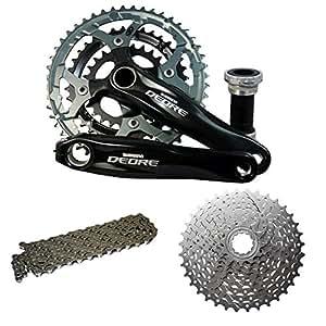 Shimano Deore MTB Hybrid Bike Crank Chainset Bundle 170mm 48T Black , Chain, 11/34 Cassette Deal