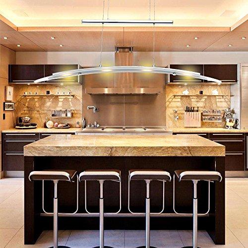 Hengda® LED Pendelleuchte Esszimmer 230V Höhenverstellbar Hängelampe Warmweiss 4-flammig 5W, Metall, Matt nickel [Energieklasse A++] (Esszimmer)