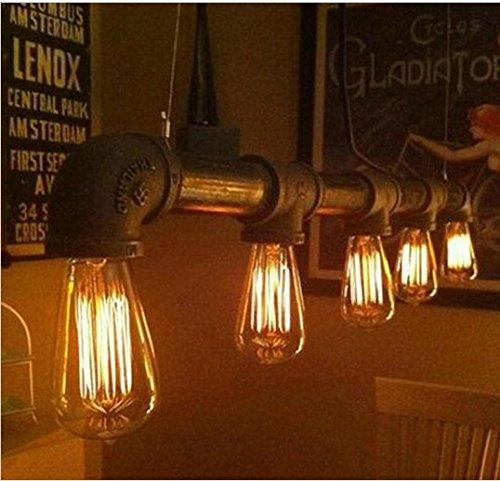 Pipe Pendelleuchte (Gowe Vintage Wasser Rohr Anhänger Lampe Industrie Edison Pendelleuchte Profi für Beleuchtung Fassung 5Leuchtmittel)
