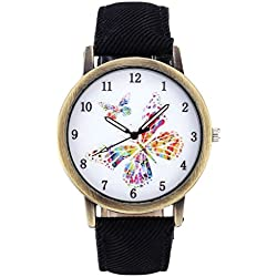 JSDDE Unisex Retro Bronze Case Colorful Butterfly Dial Black Canvas Veins PU Leather Band Watch