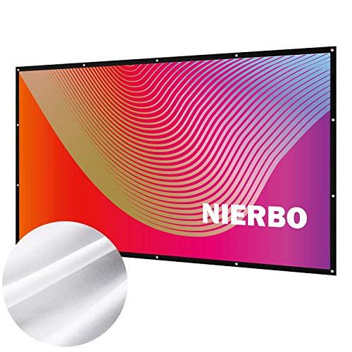 Beamer Leinwand, NIERBO 290x163cm 16 9 faltenfrei tragbar Beamer Screen Projektorleinwand unterstützt die Vorder- und Rückprojektion 4K HD 3D Projektionsfläche Beamer mit Seil und Haken