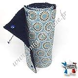 Essuie-tout lavable, coton imprimé Malawa turquoise, éponge bleu nuit.