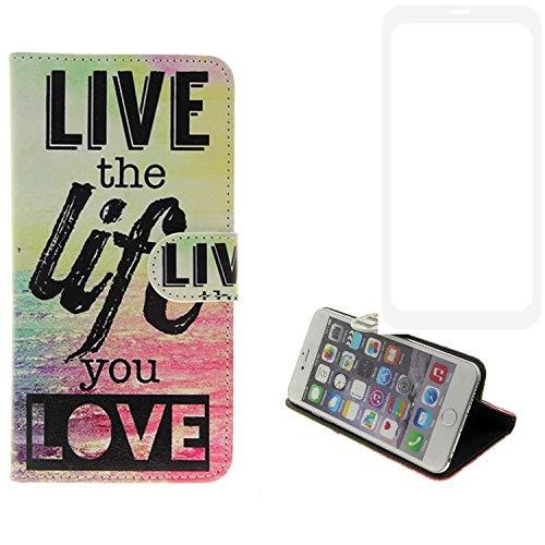 K-S-Trade Für Vestel V3 5580 Dual-SIM Schutz Hülle 360° Wallet Case ''live Life Love'' Schutzhülle Handy Tasche Handyhülle Etui Smartphone Flip Cover Standfunktion (1x)