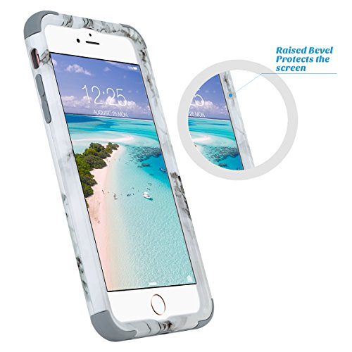 Custodia iPhone 7 Plus, ULAK iPhone 7 Plus Cover ibrida a 3 strati in silicone a shell super protettiva prova di collisione case cover per Apple iPhone 7 Plus (5,5 pollici) - Marmo Marmo