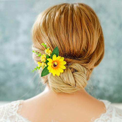Simsly Bride Sonnenblume Hochzeit Haarnadeln Silber Haarspangen Brautschmuck Haarschmuck Blätter für Frauen und Mädchen