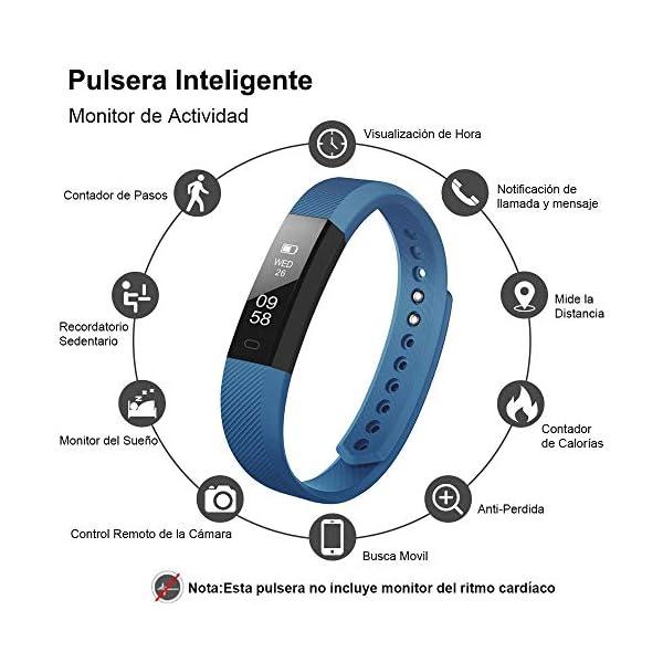Rayfit Pulsera Actividad Inteligente Reloj Deportivo Fitness Tracker Monitor de Sueño Contador de Calorías Reloj Cuenta Pasos Ejercicio Salud Podómetro Pulsera Inteligente para Mujer Hombre Niños 2