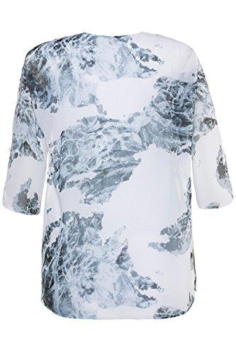 GINA_LAURA Damen | bis Größe XXXL | Tunika mit Jersey-Top | ¾-Ärmel & Rundhalsausschnitt | transparente Bluse | lockerer Loose-Fit Passform | weiß-blau gemustert mit Blühten-Druck | 712712 Grau