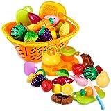 Küchenspielzeug Schneiden, Rymall 21-Teilig Obst Gemüse Spielzeug Lebensmittel Küche Kinder ädagogisches Lernen Spielzeug, Rollenspiel Lernspielzeug für Kinder