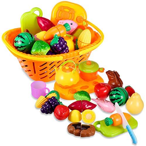 Yosemy Corte de Frutas y Alimentos Falsos Juguete Educativo para la Primera Infancia , Sin Tóxico Juguetes Educativos, Regalo de Navidad Perfecto para Niños de 3 o más años (21 Piezas)