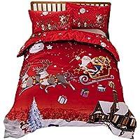 Conjuntos de ropa de cama de Navidad, juegos de cama de Papá Noel 3D Conjuntos de fundas nórdicas Colcha de tamaño completo para niños adultos Juego de colcha de edredón de Navidad impresa