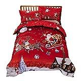 Youngsown 3 Pezzi Copripiumino Natale Set Stampato Babbo Natale Regalo di Natale, Copripiumino 1 + 2 Federe