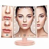 BESTOPE Schminkspiegel Beleuchtet mit 21 Leuchtmittel Make Up Spiegel 2X/3X Vergrößerung Kosmetikspiegel für Arbeits/Tischplatte Bewegliche Kabellose Stromversorgung durch Akku oder USB-Aufladung(Pink)
